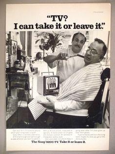 Sony 920U TV Portable TV Print Ad 1969 Television Barber Shop | eBay