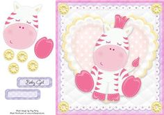 Adorable Pink Zebra by Amy Perry Adorable Pink Zebra in gorgeous heart and lace frame with corner buttons, also has decoupage and choice of tag Baby Girl Clipart, Printable Crafts, Quick Cards, Pink Zebra, Decoupage, Knitting Patterns, Hello Kitty, Card Making, Corner