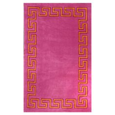 Add a pop of pattern to your foyer or den with this hand-tufted rug, featuring a Greek key border and pink hue.   Product: Rug