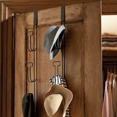 Great for a guys room for ball caps and more. Over The Door Hat Rack #potterybarnteen