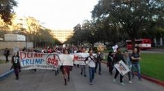 Students march against Trump and the Houston GOP debate.  Houston, TX - Hundreds of University of Houston students protested at the Republican candidates debate, which was held on campus Feb. 25. The university allowed the racist Republicans to use their facilities to hold the debate and professors were asked to cancel their classes, yet University of Houston students were not allowed to attend.