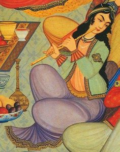 Woman playing the Ney in a painting from the Hasht Behesht Palace in Isfahan, Iran, 1669 Old Musical Instruments, Persian Culture, Iranian Art, Turkish Art, Historical Art, Period Costumes, Islamic Art, Islamic Music, Art And Architecture