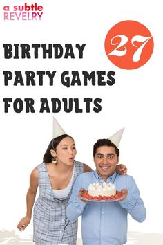 No one really outgrows birthday parties, right? A Subtle Revelry knows that you want to have a good time when celebrating your birthday. Food - check, drinks - check, decorations - check, adult-appropriate games - ?? Refer to our list of 27 DIY birthday party games for adults. You can choose a competitive action-packed game rewarding the winner with a prize or get silly and funny, a good belly laugh for all. Read the full list…#birthdaypartygames #adultbirthdaygames #diybirthdaygames Diy Birthday Party Games, Birthday Games For Adults, Adult Party Games, Birthday Songs, Adult Birthday Party, Christmas Party Games, Adult Games, 27th Birthday, It's Your Birthday