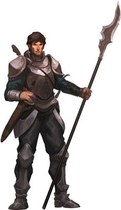 Art from Pathfinder - Human warrior with halberd. Humans are especially gifted with halberds, and wield them with innate skill