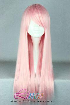 70cm-Long-Light-Pink-Beautiful-cosplay accessory wig-Anime-Wig COSPLAY wig cos wigs GUNDAMseed cosplay 20.00