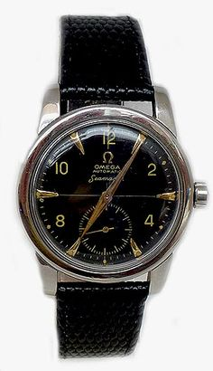 Omega Seamaster bumper 1954 Antique Watches, Omega Seamaster, Beautiful Watches, Wristwatches, Omega Watch, Antiques, Accessories, Black, Style