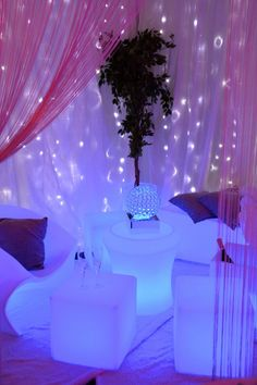 Starlight Draping and LED Lumaform Furniture make a great chill out area for your Wedding