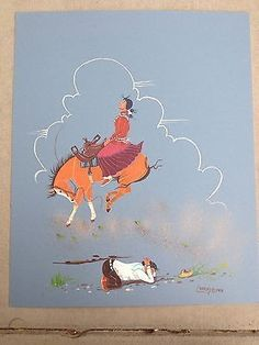 """CHARLEY SINGER ORIGINAL CASEIN PAINTING TEACHING HER TO RIDE16"""" X 19.5"""" SIGNED 