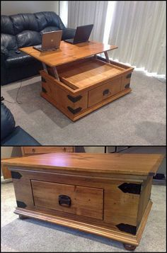 How to Build a DIY Lift Top Coffee Table  http://diyprojects.ideas2live4.com/udcm  If you've ever tried eating or using your laptop on top of a coffee table, you know it isn't comfortable. Here's a great DIY project for a dual purpose coffee table.
