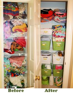 before and after kids linen and bathroom closet