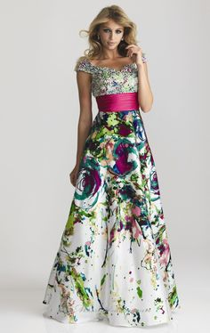 Modest Prom Dress.. Kinda cool but not much for the top. Really like the colorful mess bottom look tho!
