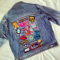 Patches on denim jacket