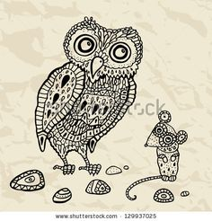 Decorative Owl and  Mouse. Vector Funny cartoon illustration.