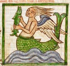 Mermaid, British Library, Harley 3244, detail of f. 55r. Bestiary. 1236-c.1250