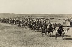 WW1: Ottoman army camel troops at Beersheba. This was Lawrence of Arabia time. The Ottomans suffered a resounding defeat and lost all their Arabian lands (something that Turkey is trying to partially 'correct' today.)