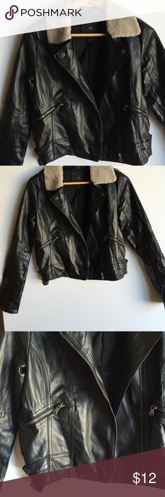 Faux vegan leather bomber jacket Super cute and on trend jacket, gently used in great condition, comfortable to wear...pair with your favorite jeans! Iris basic Jackets & Coats
