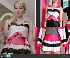 Chanel's pink striped ruffled top and shorts set on Scream Queens.  Outfit Details: http://wornontv.net/51955/ #ScreamQueens