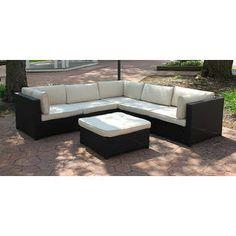 Black Resin Wicker Outdoor Furniture Sectional Sofa Set - Beige Cushio