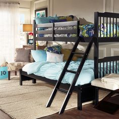 This spacious bunk bed lets your kids share a room conveniently. It features a full-sized bed on the bottom and a twin-sized top bunk that allows them to maximize their space. Made from Asian wood, it offers durable support for long lasting use.