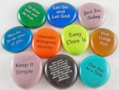 AA, NA, Alcoholics Anonymous, Narcotics Anonymous; Recovery Stones sayings - Imprinted Colored Glass  - Set of 10