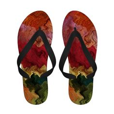 Colorful Fabric Abstract Flip Flops