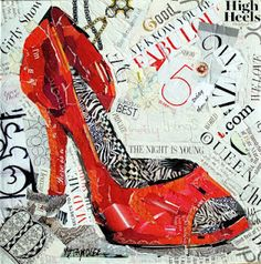 "Nancy Standlee Art Blog 12x12x1.5"" torn paper collage on a gallery wrapped canvas, red high heel, ""The Night Is Young"" 12073"