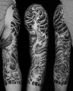 Japanese sleeve water tattoo