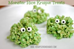 Super cute monster rice krispie treats - just add 7 drops green food coloring to normal rice krispie treat recipe and add candy eyes - from the happyhomemaker blog