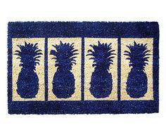 Paillasson PINEAPPLES fibre de coco, bleu et naturel - 46*77
