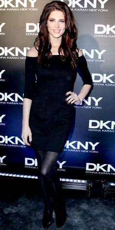In Moscow, Greene sat front row at the DKNY show sporting the label's off-the-shoulder LBD and matching pumps.
