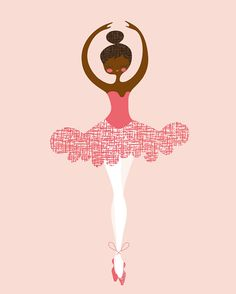 Ballerina En Pointe 8X10 African American or Indian by ThePaperNut