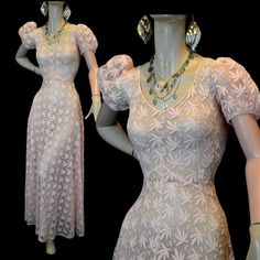 Vintage 1930s Wedding Dress - Embroidered Net Lace - Nouveau Cannabis Embroidery on Etsy, 2520:16kr