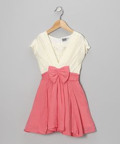 Take a look at this Pink & White Rhinestone Bow Dress - Girls by Roberto Toscani on #zulily today!