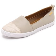 KAANAS Serengeti Slip On Sneakers (500 BRL) ❤ liked on Polyvore featuring shoes, sneakers, chalk, leather shoes, slipon shoes, leather trainers, leather slip on shoes and leather footwear