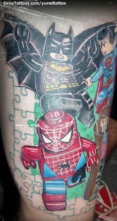 Because my son would love it. Tatuaje de / Tattoo by: yuredtattoo Nerdy Tattoos, Boy Tattoos, Great Tattoos, Beautiful Tattoos, Body Art Tattoos, Tatoos, Lego Tattoo, Batman Tattoo, Tattoo Addiction