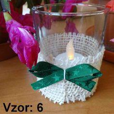 Svietnik sklenený s mašľou - Sviečka - S čajovou sviečkou LED (plus 1€), Vzor - Vzor 6
