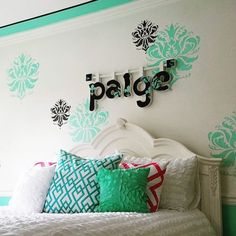 Kids room stencil, stripes on ceiling, lettering Damask Wall Stencils, Stencil Decor, Wall Stencil Patterns, Little Girl Bedrooms, Bedroom Decor For Teen Girls, Teenage Girl Bedrooms, Bedroom Ideas, Girl Rooms, Hippie Style Rooms