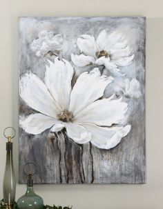 White Magic by Billy Moon: 36 x 48 Painting Arte Floral, Acrylic Art, Painting Inspiration, Diy Art, Flower Art, Painting & Drawing, Art Drawings, Art Projects, Mandala