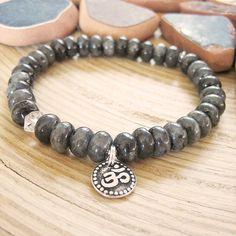 Om Bracelet - Black Moonstone and Herkimer Diamond Quartz, Larvikite and Silver Om Charm Bracelet, Raw Crystal Accent
