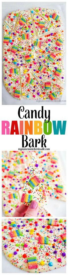 Oh my adorableness!  This Candy Rainbow Bark would be perfect for a birthday party, St. Patrick's Day or just to cheer someone up!  |  http://mynameissnickerdoodle.com #Rainbows