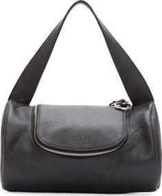 MM6 Maison Martin Margiela Black Grained Calf Leather Small Duffle Bag