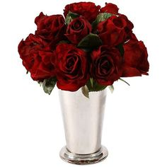 """Jane Seymour Botanicals Jane Seymour 12"""" High Red Roses in Bud Vase ($80) ❤ liked on Polyvore featuring home, home decor, floral decor, flowers, red rose bouquet, red home decor, rose bud vase, artificial flower stems and rose bouquets"""