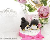 bride and groom Penguins Wedding Cake Topper