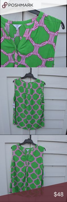 Crown & Ivy Sleeveless Pink and Green Blouse Perfect for summer and spring. In perfect condition! Open to reasonable offers! Crown & Ivy Tops Blouses