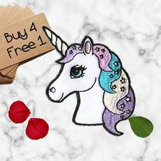1X UNICORN patch sweet love magic  glam fashion Iron On Embroidered Applique diy
