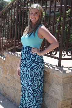 Mint and Navy Damask Tank Maxi Dress (S-XL) – Texas Two Boutique