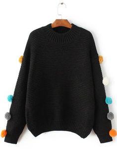 Pullover mit Bommel Umlegekragen -schwarz - German SheIn(Sheinside)