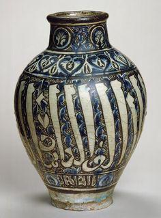 Jar, Mamluk period (1250–1517), 14th century Syria Stonepaste; polychrome painted under transparent glaze