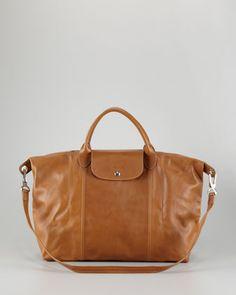 Longchamp Le Pliage Cuir Large Handbag with Strap, Camel 766a0bab5b
