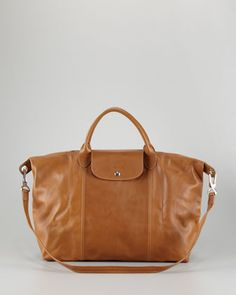 Le Pliage Cuir Large Handbag with Strap, Camel by Longchamp at Neiman Marcus.